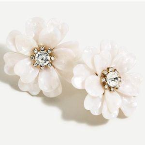 J Crew Full Bloom Flower Earrings White